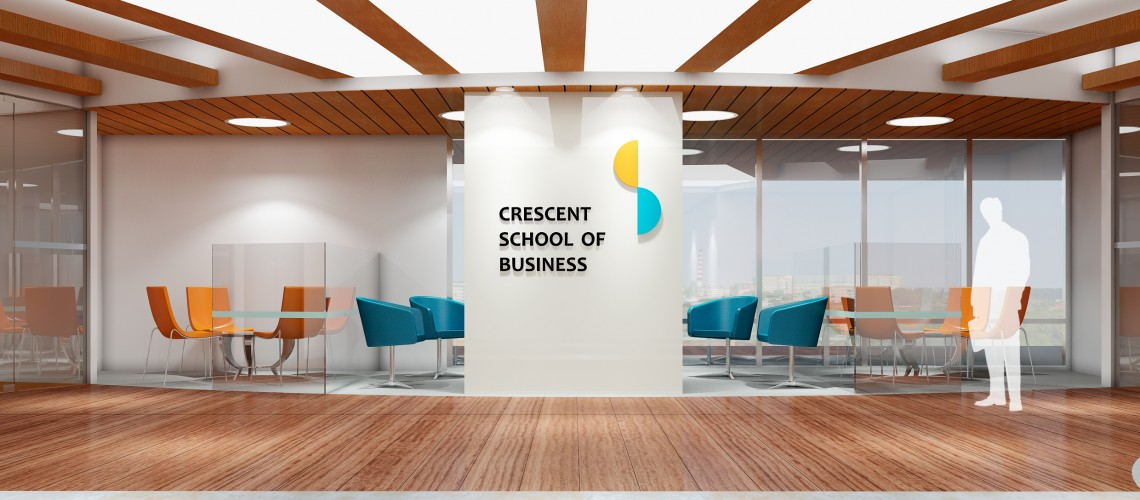 artist's rendering of crescent school of business reception