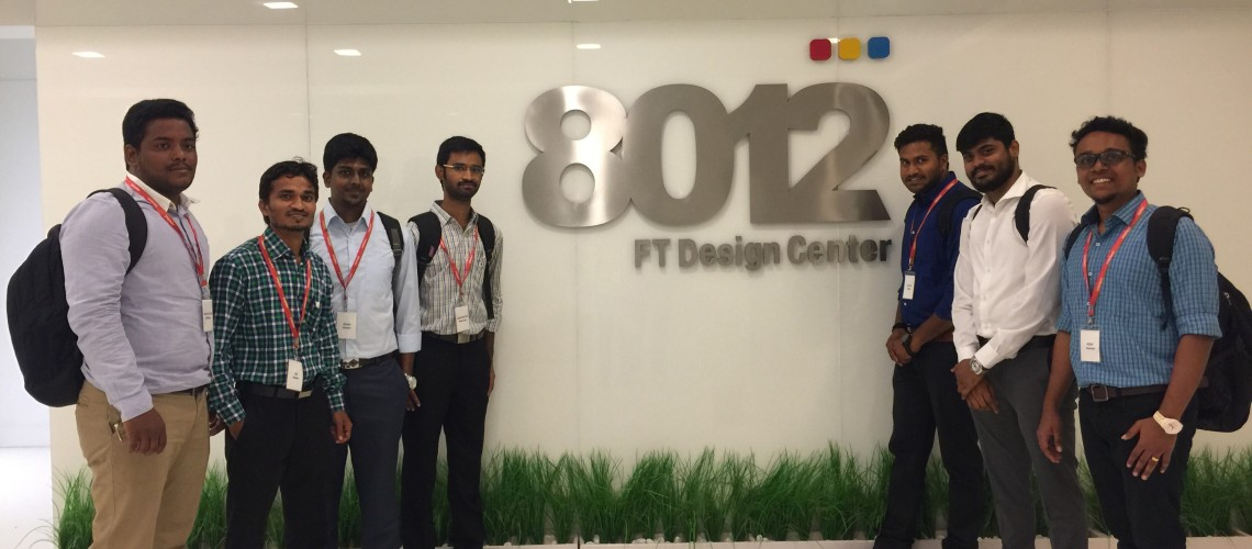 Field visit to Intellect Design. Intellect Design has uniquely named their design center, 8012, after the latitude and longitude coordinates of Chennai.